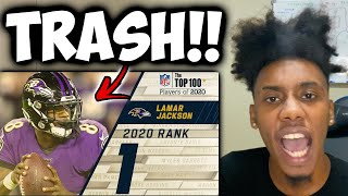 Lamar Is OVERRATED!!! #1: Laṁar Jackson (QB, Ravens) | Top 100 NFL Players of 2020 - Reaction