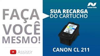 Recarga Expressa de Cartucho Canon CL-211 - MP250 MP490 MP480 MP270 Color Vídeo Aula Toner Vale
