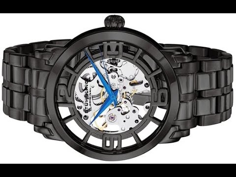 stuhrling original men s 165b2b 335b1 classic skeleton black stuhrling original men s 165b2b 335b1 classic skeleton black stainless steel watch