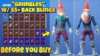 "BEFORE YOU BUY - ""GRIMBLES"" SKIN Showcased With 65+ BACK BLINGS! Fortnite Battle Royale - GNOME SKIN"