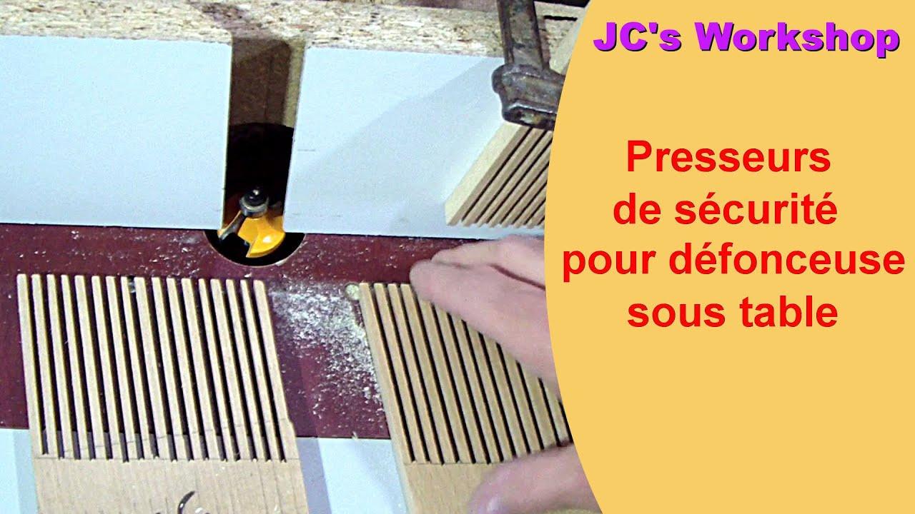 presseur de s curit pour d fonceuse sous table toupie travail du bois 25 youtube. Black Bedroom Furniture Sets. Home Design Ideas