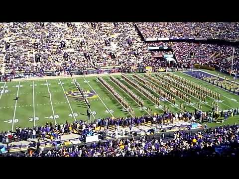 LSU Band playing fight song on Field before the LSU Game