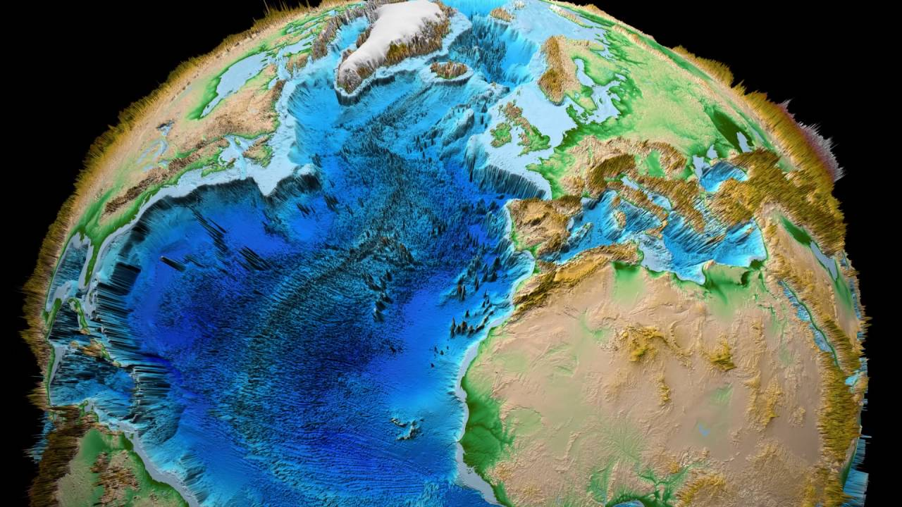 Earth 3D Relief x 100 Topography Bathymetry