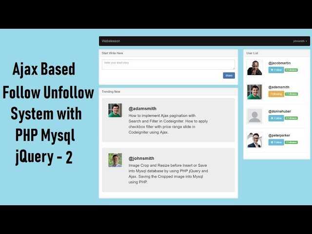 Ajax Based Follow Unfollow System with PHP Mysql jquery - 2