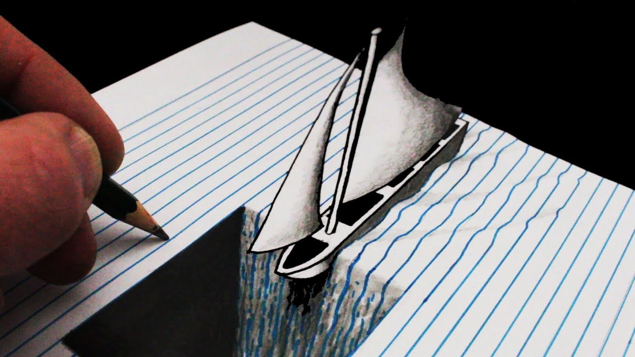 How to Draw a Hole in Line Paper: 3D Trick Art with Boat