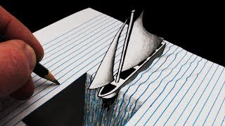 How to Draw a Trick Art 3D Hole in Line Paper: With Boat