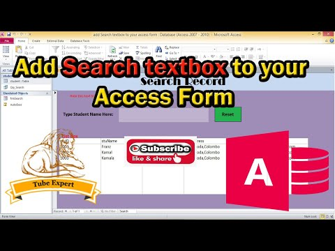 How to add search text box to access form
