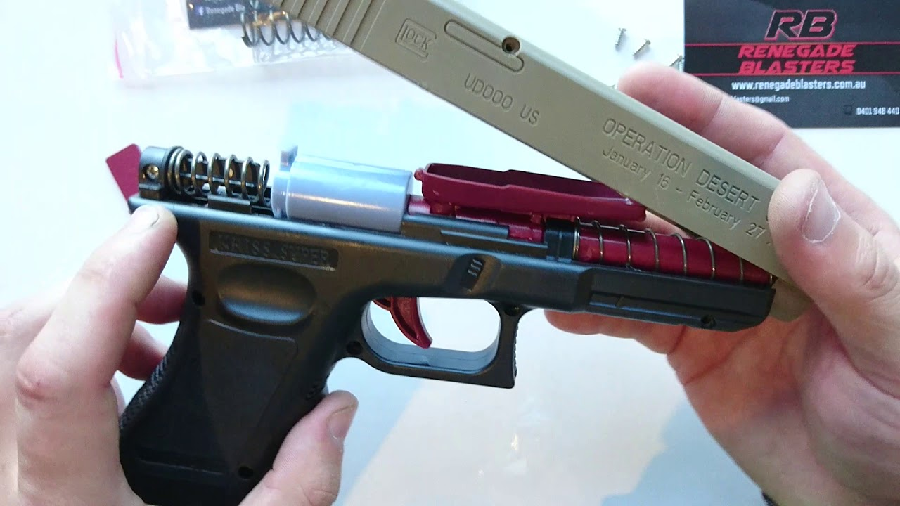 How to change the spring in the Manual Glock G17 Gel Ball Blaster -  Renegade Blasters