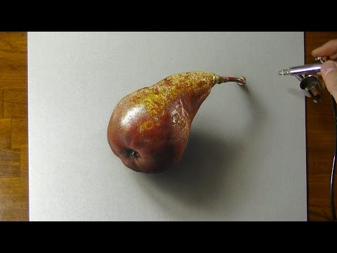 Drawing a Pear - How to draw 3D Art