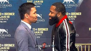 MANNY PACQUIAO & ADRIEN BRONER ALL LAUGHS DURING FUNNY FIRST FACE OFF IN NEW YORK