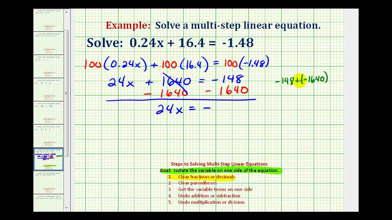 Ex: Solve a Two-Step Equation with Decimals - YouTube