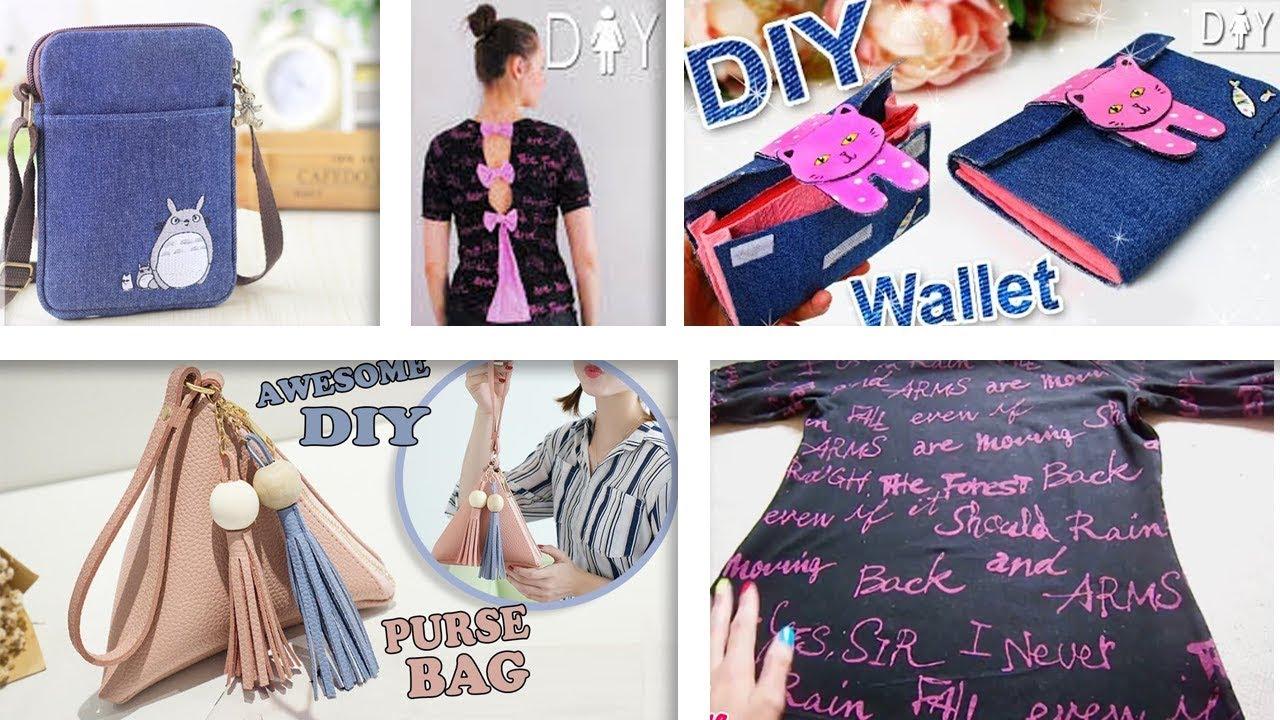 SUPER DIYs OLD CLOTH RECYCLE INTO CUTE BAGS   T-SHIRT    Cool DIY Bag  Tutorials 41f47cacedfac