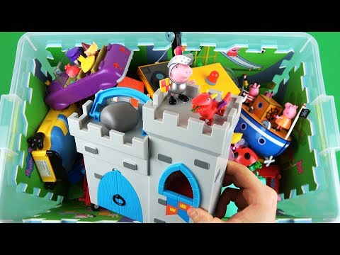 Learn characters, colors, vehicles with Toys in box for kids: Peppa, PJ Masks, Paw Patrol, Holly