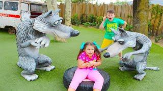 Адриана и Али в парке развлечений Маша и Медведь в Италии