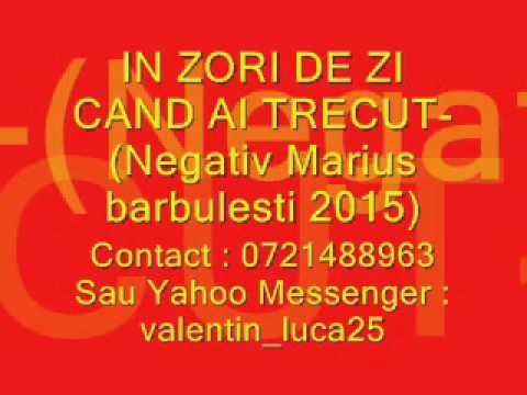 IN ZORI DE ZI CAND AI TRECUT-Negativ Marius barbulesti 2015