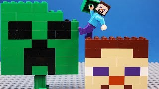 Lego Minecraft Steve Building Brick Big Head Creeper
