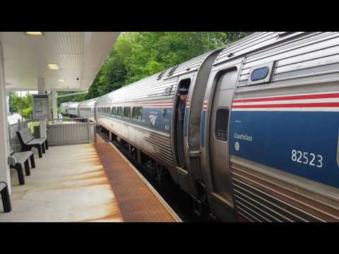 Amtrak Downeaster Train 692 90214 Arriving at Freeport Maine Station 2017 06 24