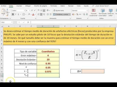 Tamaño de muestra para variable cuantitativa, población infinita