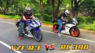 YAMAHA R3 vs KTM RC 390 Drag Race | Top End Race | Highway