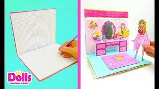 🎁🎀🎈 DOLLHOUSE IN ALBUM BIRTHDAY PARTY FOR PRINCESS PAPER DOLL PAPERCRAFTS FOR KIDS