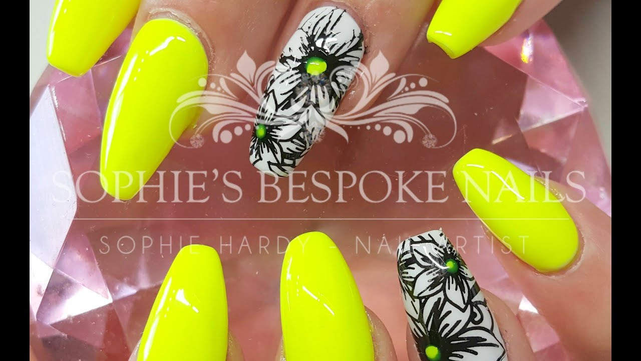 Acrylic Nails Neon Yellow Black Flowers