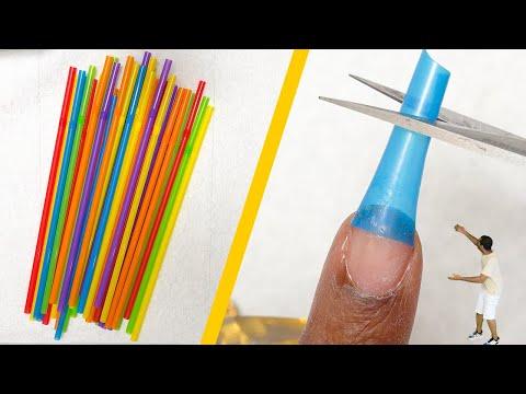 Testing DIY Nail Hacks - Fake Nails with Drinking Straws???