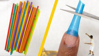 Download Testing DIY NAIL HACKS - Episode 1 - Fake Nails with Drinking Straws??? Mp3 and Videos