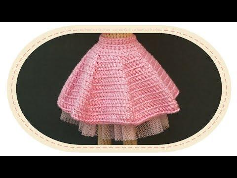 Как связать пышную юбку крючком для куклы