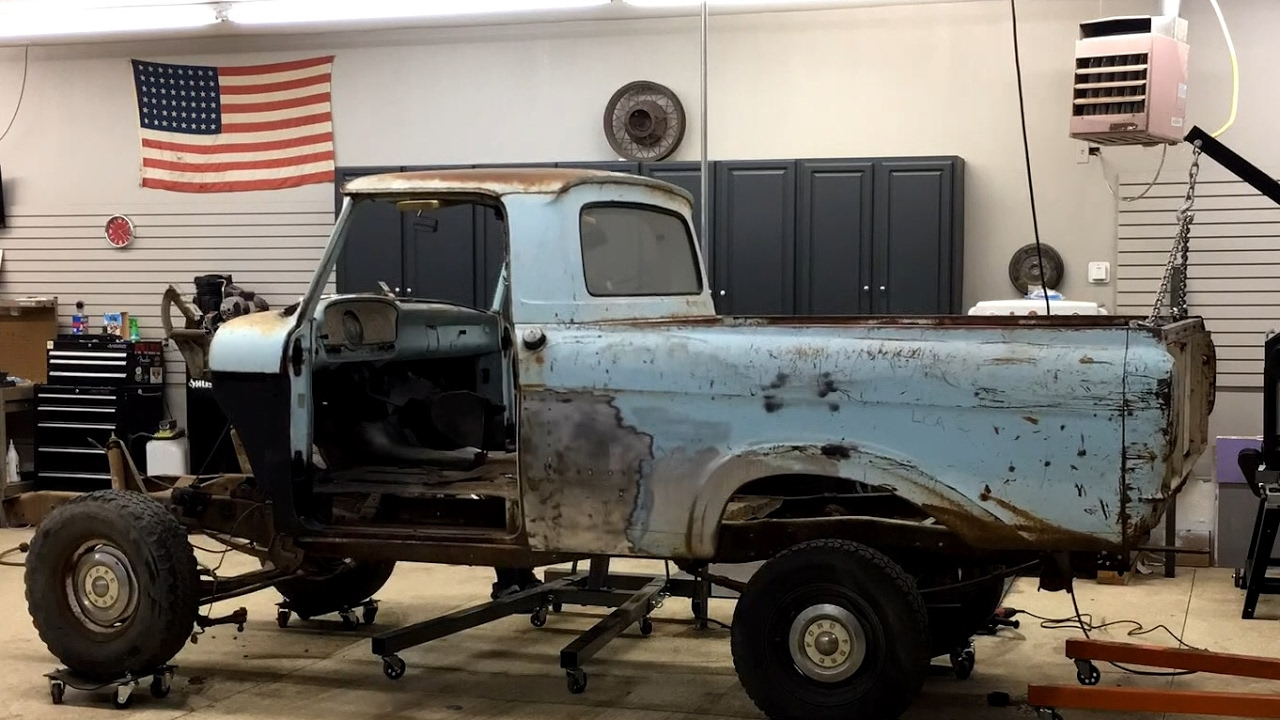 F100 to Crown Vic Frame Swap Ep 5 Finally Body Meets Frame!