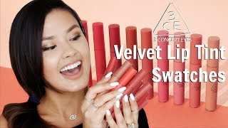 SWATCHING ALL 10 3CE VELVET LIP TINTS | Haul, Review and Demo