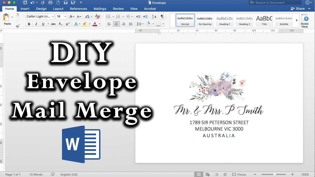 How To Easy Envelope Mail Merge In Ms Word Diy Invitations Youtube