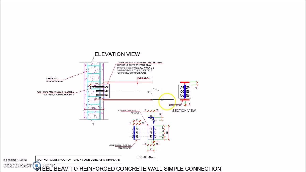 Steel Beam Reinforced Concrete Wall Simple Connection