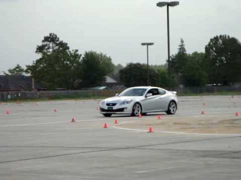 Silver 3.8 Genesis Coupe doing a lap
