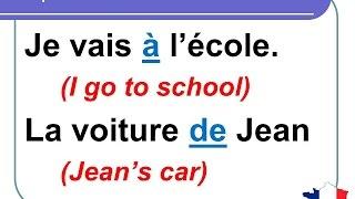 French Lesson 139 - Common Most used French prepositions DE EN POUR SANS DANS SUR CHEZ AVEC VERS