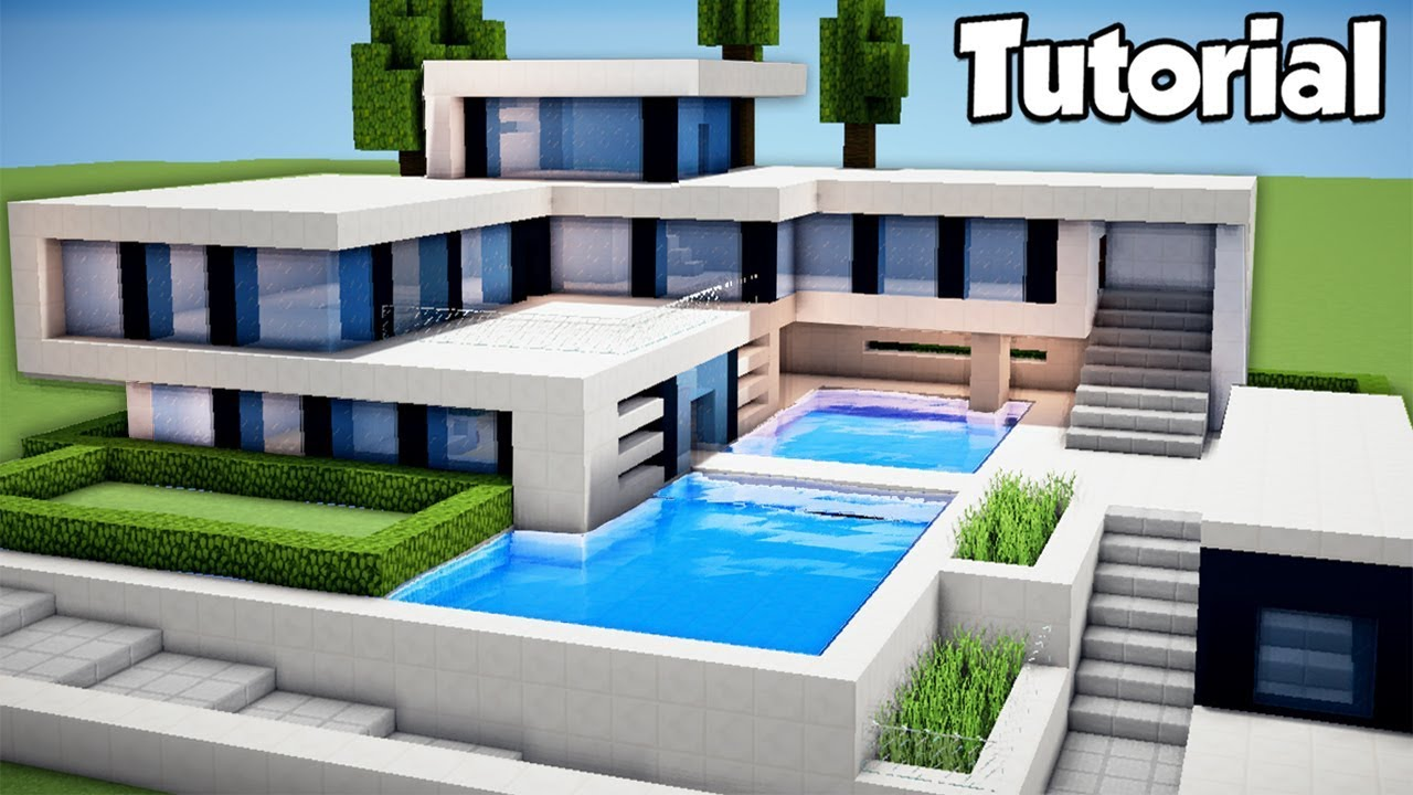 Minecraft how to build a large modern house tutorial 2 for How to build a modern home