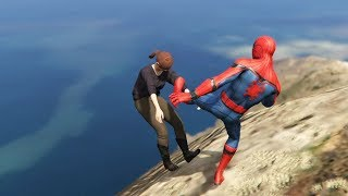 GTA 5 Water Ragdolls | SPIDERMAN Jumps/Fails #8 (Euphoria physics | Funny Moments)