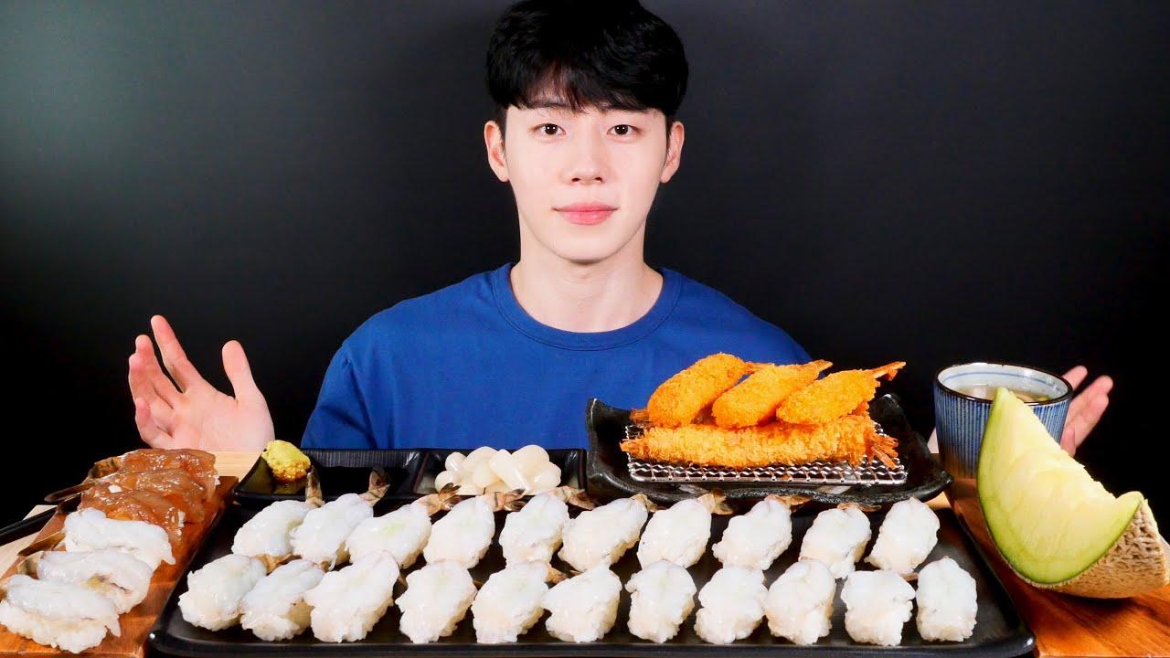 SUB)🦐생새우초밥 먹방 간장새우초밥, 새우튀김, 대게튀김, 멜론 MUKBANG EATINGSOUND ASMR EATINGSHOW AJEOC 아재옥