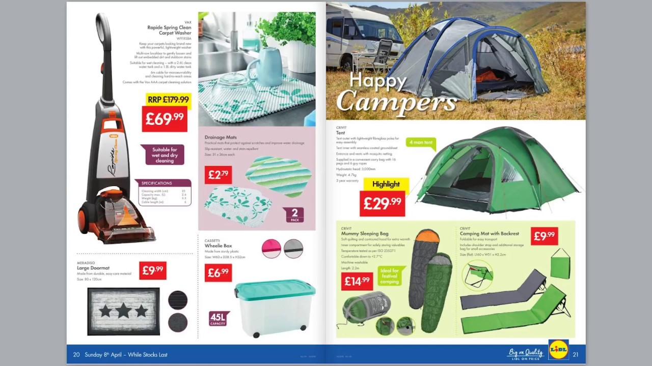 lidl weekly special buys 4th april 2018 camping cleaning youtube. Black Bedroom Furniture Sets. Home Design Ideas