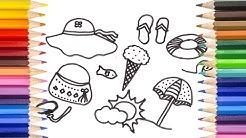 Рисуване и оцветяване - Летни предмети за деца