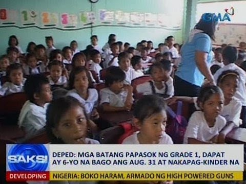 Saksi: DepEd age requirement sa mga papasok sa grade 1, inal