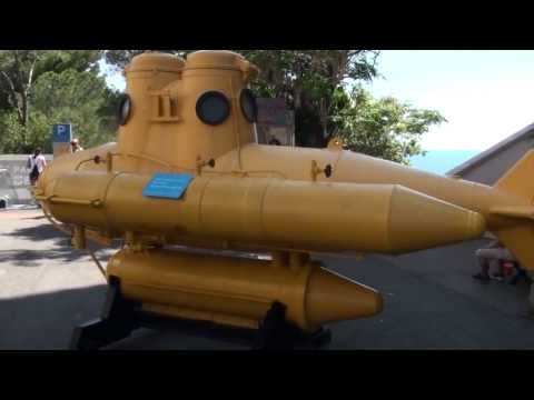 Jacques Cousteau first submarine - Anorep 1 - Oceanographic Museum in Monaco - HD