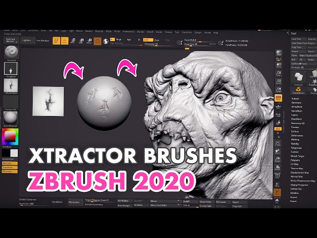 How to Use the XTractor Brushes in ZBrush 2020