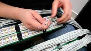 обжим одного кабеля в патч панель