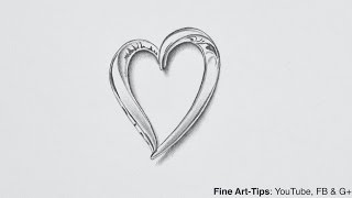 How to Draw a Silver Heart - Very Easy - Narrated