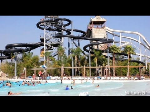 Tour of Hurricane Harbor Water Park in HD - Six Flags Hurricane