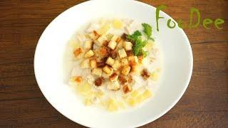 Очень вкусный и простой куриный суп из плавленных сырков с чесночными сухариками.