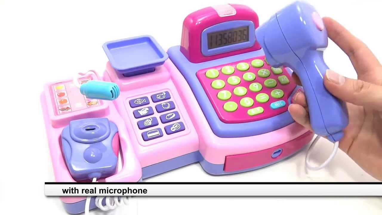 cash register toy for girls with real calculator lcd display and mic youtube. Black Bedroom Furniture Sets. Home Design Ideas
