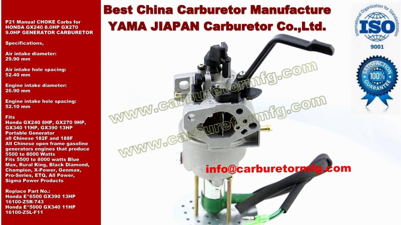 p21 manual choke carbs for honda gx240 8 0hp gx270 9 0hp generator rh youtube com Honda GX240 Shop Manual Honda GX390 Parts Search