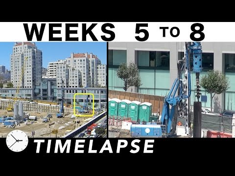 4-week construction time-lapse: Weeks 5 thru 8: Shoring up the sides and excavating