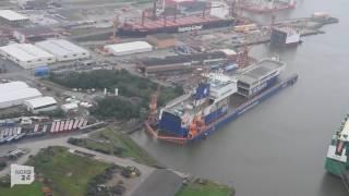 "Fähre ""Primula Seaways"" in Bremerhaven um 30 Meter verlängert"